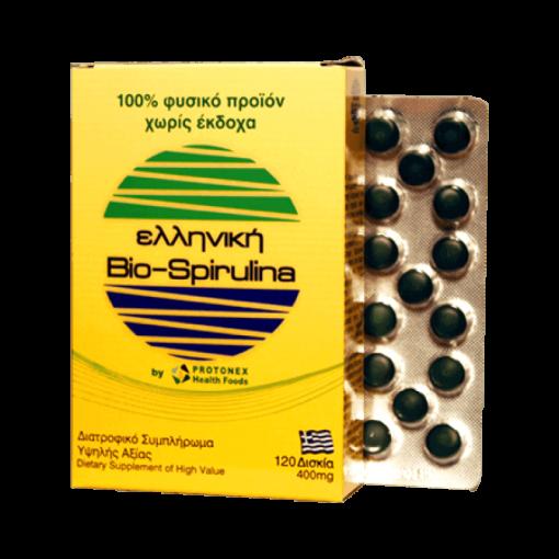 PROTONEX Ελληνική Bio Spirulina 400mg 120tabs, σπιρουλίνα, βιολογική, ελληνική, ενέργεια, συμπλήρωμα, βιταμίνες, φαρμακείο