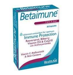 Health Aid Betaimune 30 κάψουλες, ρεσβερατρόλη, d3, συνένζυμο Q10, αντιοξειδωτικά, συμπλήρωμα, ανοσοποιητικό, φαρμακείο